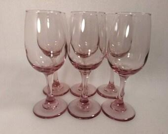 Vintage Pink Champagne Glasses Set of 6
