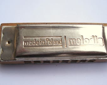 Vintage Melodia Harmonica/ Made In Poland/Wooden Framed MELODIA Harmonica/ Musical Instrument/ Mouth Organ Harmonica/Memorabilia/1970s