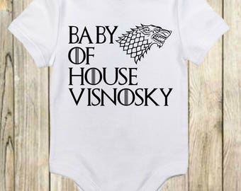 Game of Thrones Baby Onesie® - Personalized Game Of Thrones Onesie - House Name Personalized Game of Thrones Baby Clothes - Baby Shower Gift