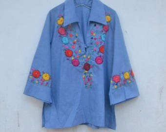 Vintage chambray shirt, embroidery tunic, mexican, 70s, bell sleeves, hand embroidery