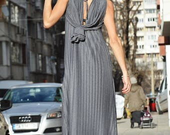 Long Grey Solei Dress, Women's Maxi Dress, Oversized Kaftan Dress, Plus Size Dress, Evening Dress by SSDfashion