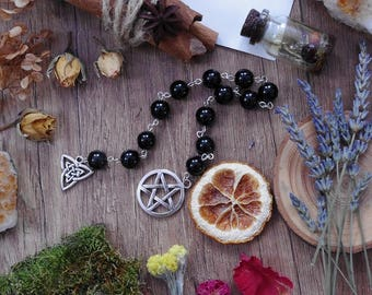 Protection Prayer beads Witch Beads Wicca Rosary Witch Rosary Ritual Prayer beads Pagan Prayer Beads Witches Ladder Meditation mala beads