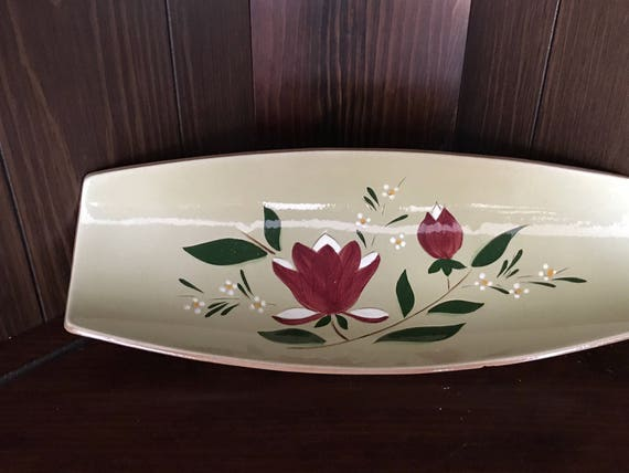 """Stangl Pottery Magnolia Pattern 15 """" Footed Bread/Pastry Platter"""