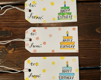 Birthday Cake Happy Birthday Hand Painted Watercolor and Hand Scripted Gift Tags Set of 3. Perfect for birthdays!