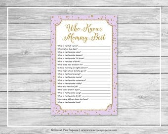 Purple and Gold Baby Shower Who Knows Mommy Best Game - Printable Baby Shower Who Knows Mommy Best - Purple and Confetti Baby Shower - SP148