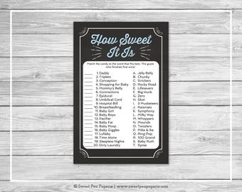 Chalkboard Baby Shower How Sweet It Is Game - Printable Baby Shower How Sweet It Is Game - Blue Chalkboard Baby Shower - Shower Game - SP156