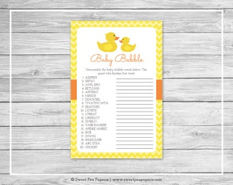 Rubber Ducky Baby Shower Baby Babble Game - Printable Baby Shower Baby Babble Game - Rubber Ducky Baby Shower - Baby Word Scramble - SP121