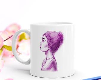 Elizabeth Bennet of Pride and Prejudice Sketch Mug   A Bookish Gift for Book Lovers, Bookworms and Pride and Prejudice Readers