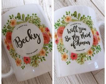Personalised Wedding Party Mugs, Mr Mrs, Bride, Groom, Bridesmaid, Best Man, Mother/Father of Bride/Groom, Custom Gift, Keepsake Memento Mug