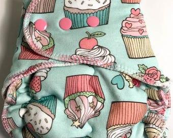 Teal Cupcake  WUB Fitted Diaper