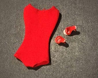 Vintage Barbie red Helenca swimsuit with red high heels