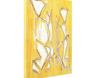 Canvas art, abstract canvas art, canvas painting, abstract couple painting, yellow 30x24 wall art canvas signed and sold by artist
