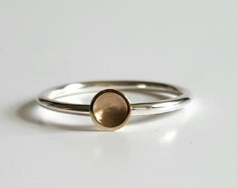 Handmade Sterling silver & 9ct Gold stacking ring.