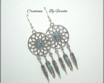 """Earrings """"Dreamcatcher"""" with sky blue cabochon and silver feathers"""