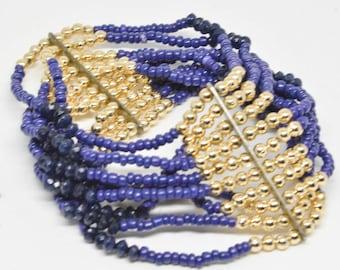 Dark Blue and Gold tone Multi Strand Beaded Bracelet