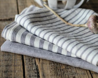 Gray linen tea towels, Modern farmhouse kitchen towels, Gray stripe dish towel, Natural linen hand towel, Towels with hanging loop