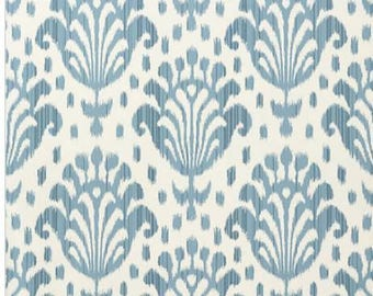 1 double roll of Thibaut wallpaper // T-4949 // blue and ivory ikat // new in package // crafting supplies //