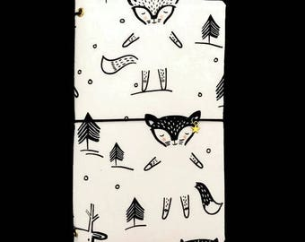 REGULAR Midori Cover Planner Cover Fabric Travelers Notebook Black and White Journal Cover Fabric Notebook Fabric Midori Black Fauxdori ZOEY