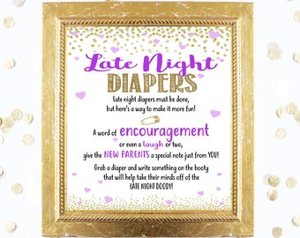 Late Night Diapers - Baby Shower Game Printable Purple and Gold Baby Shower Decor Instant Download, Diapers Game, Fun Baby Shower Ideas, PDF