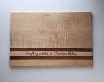 Large Cutting Board, Maple and Padauk cutting board, Custom Cutting board, Wood Serving Board