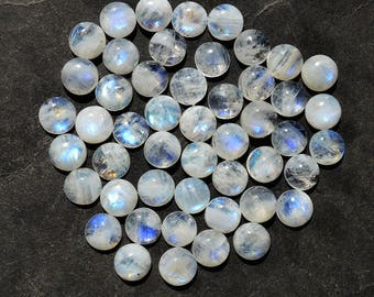 4 Pieces Natural Top Quality Blue Fire/Flash Rainbow Moonstone Gemstone Cabochon Round Shape Calibrated Gemstone MM16