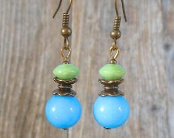 vintage blue and green earrings, jade, bronze, short
