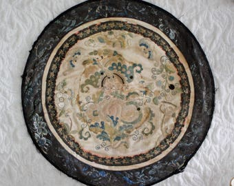 Antique Chinese Embroidered Silk Rondel
