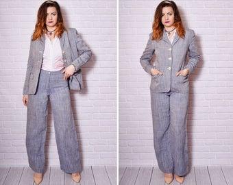 Max Mara Pant Suit Linen Pantsuit Grey Women Mod Jackie Kennedy Boss Vintage Tight Jacket 90s Pattern Wide Leg Slacks High Waisted Pants