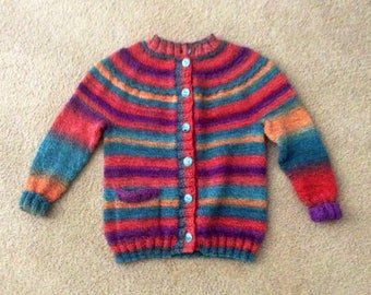 3T Hand Knit Sweater  Multi striped EuroBaby Maypole Polyester