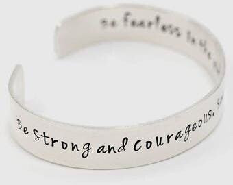 Sterling Silver Cuff Bracelet | Be Strong and Courageous