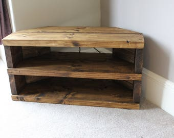Rustic Handcrafted Chunky Reclaimed corner TV Unit stand/cabinet with two shelves In walnut wax.