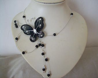 wedding pearls black Butterfly Necklace black bicone beads Czech transparent bridal wedding evening ceremony Christmas