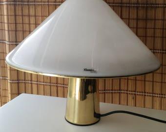 Harvey Guzzini for Guzzini mushroom lamp brass perspex Made in Italy 1970s