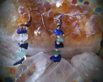 Lapis Lazuli and Green  Aventurine earrings