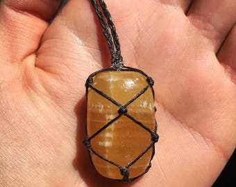 Calcite irish linen necklace