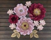 BURGUNDY SUPER MINI paper flower backdrop/Paper flower wall/Wedding Backdrop/Bridal or Baby shower/Sweet table/Christening /Dessert table