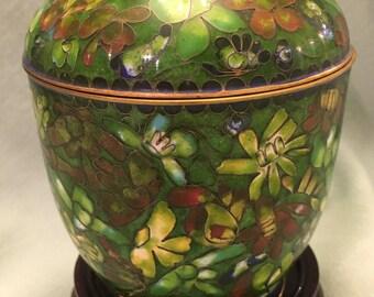 Cloisonné vase on stand