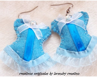 Earrings romantic, blue, turquoise, felt, lace, dangling, pierced, corset, bustier, for her, anniversary