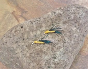 Handtied Feather Earring. Completely Unique. Small Fly Fishing Style Earring. Hypoallergenic. Blue/Green Iridescent Peacock Feathers on top.