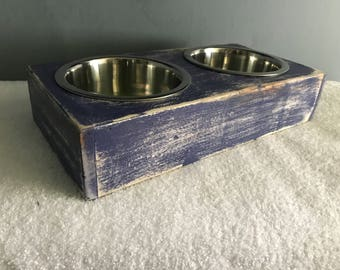 "Rustic dog bowl stand made from reclaimed pallet wood (Medium) 15"" L x 7.75"" W x 3.5"" H"