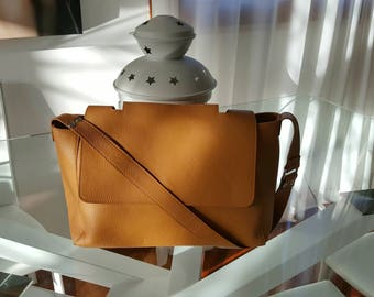 Leather Bag. Italian Handcrafted Orange Cross Body Messenger shoulder purse for Travel Office School. Gift for wife anniversary, daughter.
