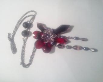 Vintage red rose necklace