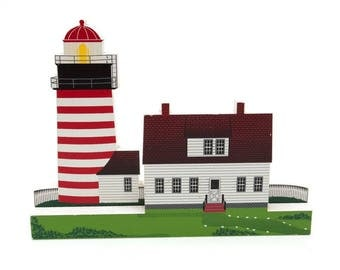 Replica West Quoddy Head Light Carving - Signed by Sheilia's and Dated - Features 1808 light on Easternmost Point of US