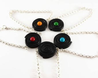 Bracelet black licorice and colorful candy - zan - color choice - polymer clay