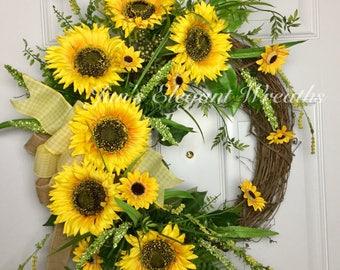 Large Sunflower Wreath, Yellow Sunflower Wreath, Summer Wreath, Fall Wreath, Front Door Wreath,Floral Wreath