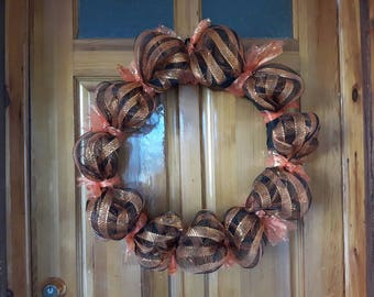 Black , orange And gold wreath 18 inch