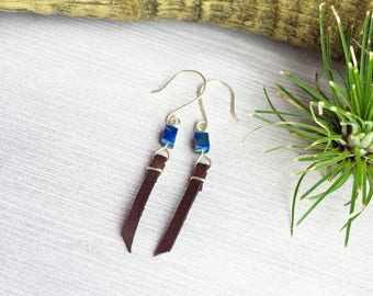 Blue Lapis Earrings with Chocolate Brown Leather on Sterling Silver >> Leather Tassel Bohemian Jewelry >> Natural Stone >Simple Gift For Her