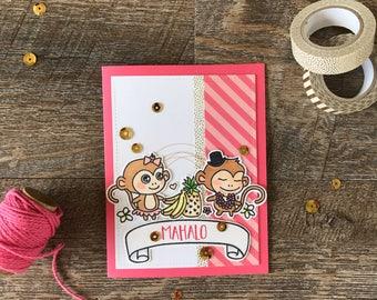 Mahalo- little monkies thank you card