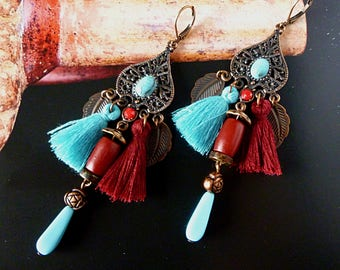 "Pierced ear ethnic ""CUZCO"" copper patina, tassels, ethnic beads, turquoise glass beads, cabochons"