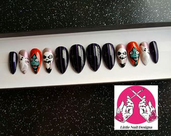 The Nightmare Before Christmas Hand Painted False Nails | Jack Sally Zero | Little Nail Designs